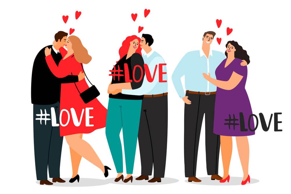 ilustração de casais com hashtag mais usada no instagram