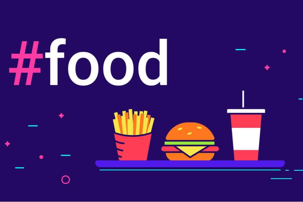 ilustração de hashtag para instagram de comida