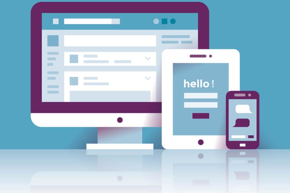 ilustração de página na rede social facebook em diferentes dispositivos