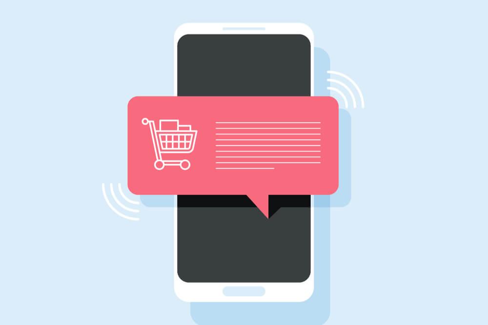 ilustração de push notification de compras em smartphone