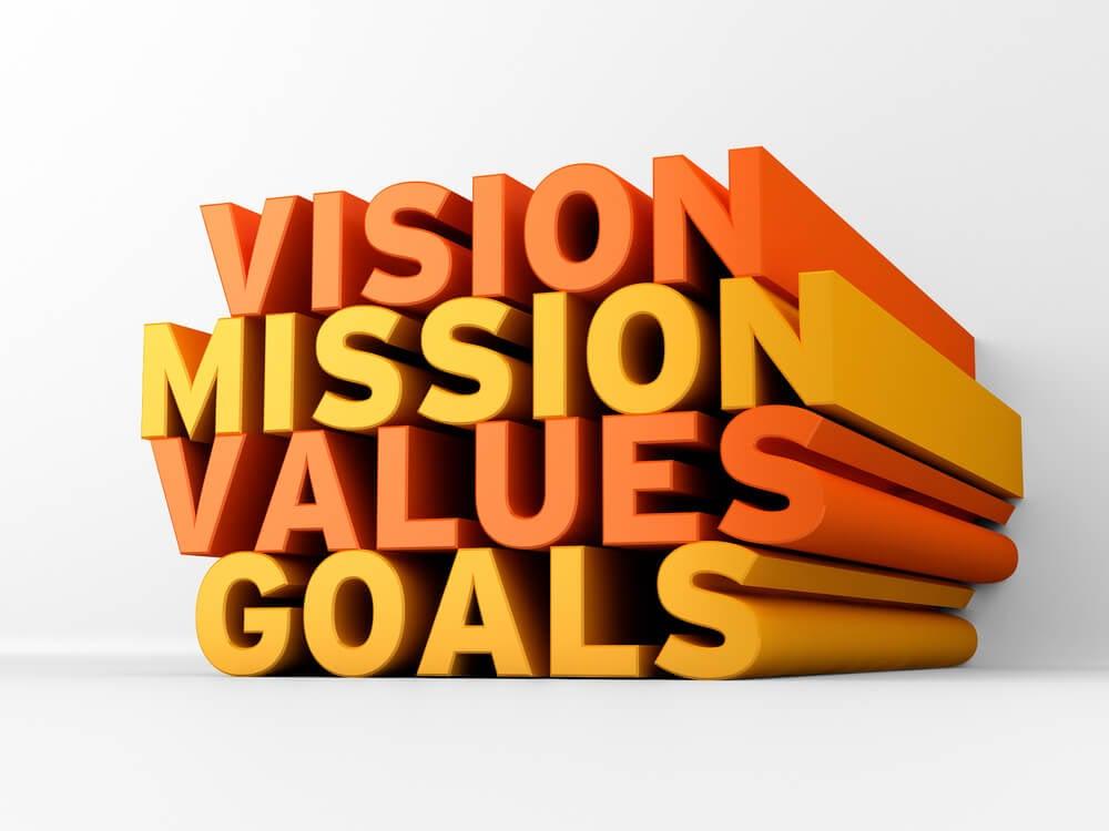 ilustração de títulos 3d visão missão valores e objetivos