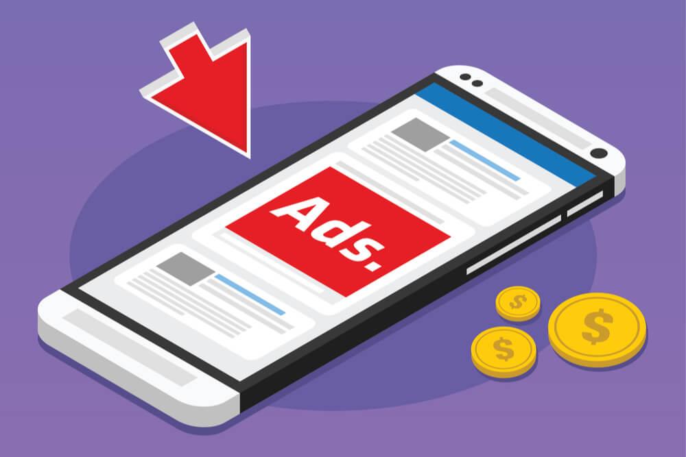 ilustraçao demonstrando smartphone com native ads em site mostrando em tela e moedas ao lado