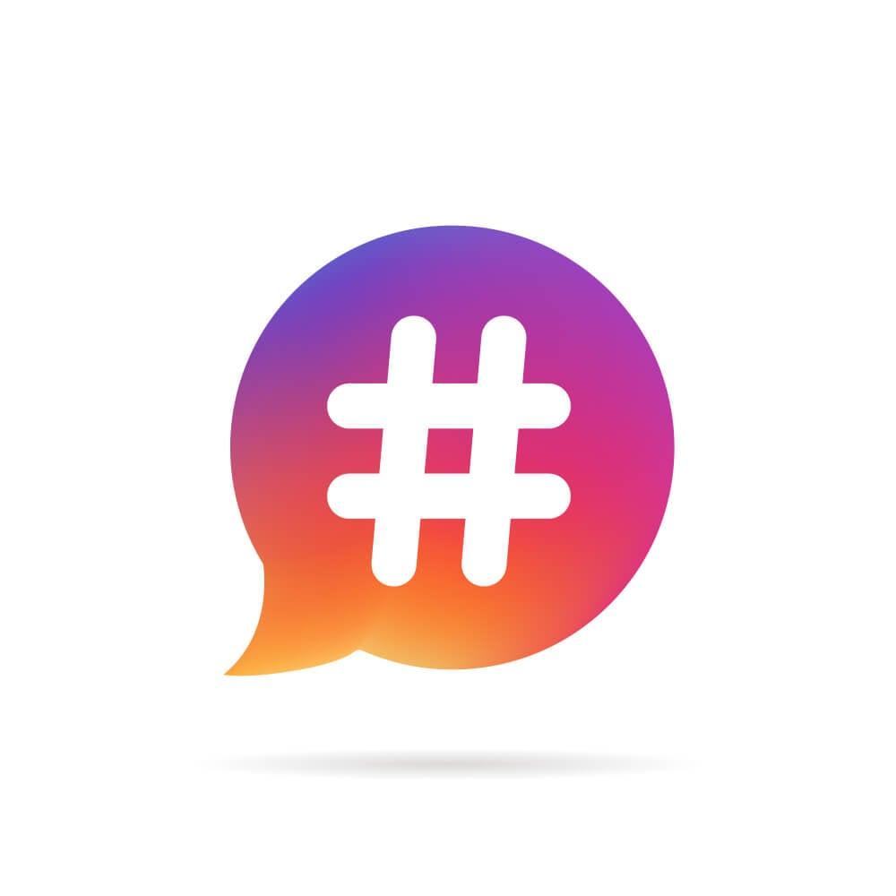 ilustraçao do simbolo de hashtag em balao colorido