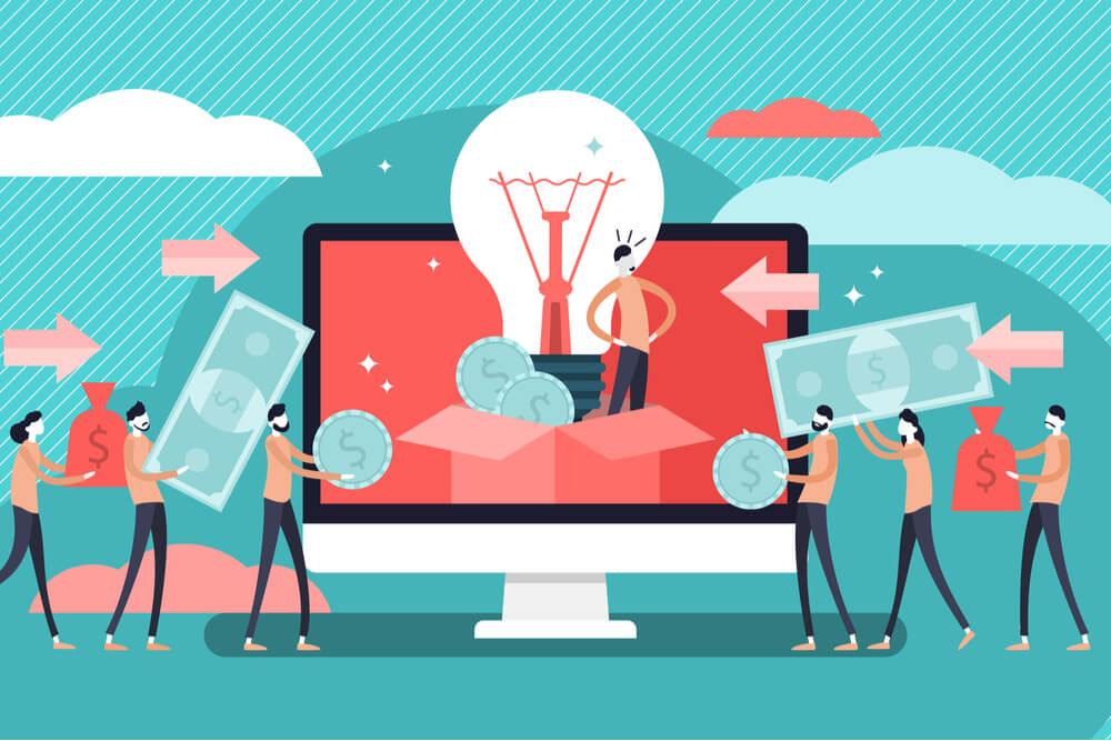 ilustração relacionada ao negócio online crowdfunding