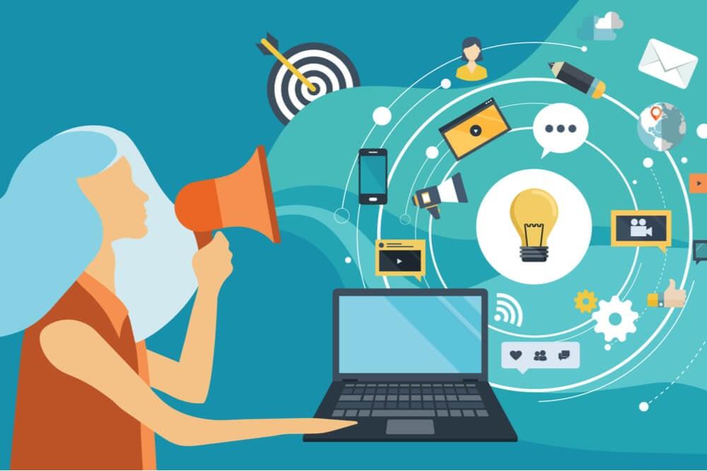 ilustraçao representando area de trabalho marketing com mulher usando megafone em frente a laptop e diferentes simbolos representando o marketing