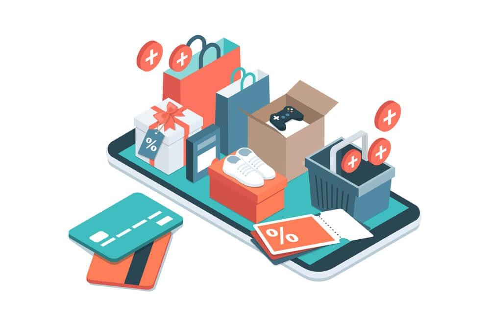 ilustraçao representando smartphone com produtos a venda sob o mesmo e cartões ao lado