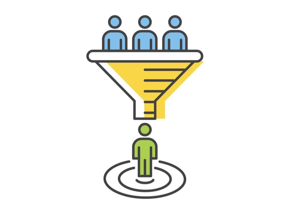 ilustração simples sobre funil de vendas e geração de leads