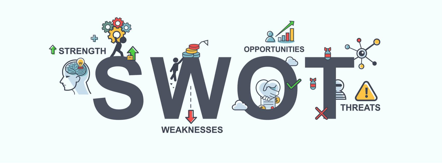 ilustração sobre análise swot dentro da estratégia de vendas e significados da sigla