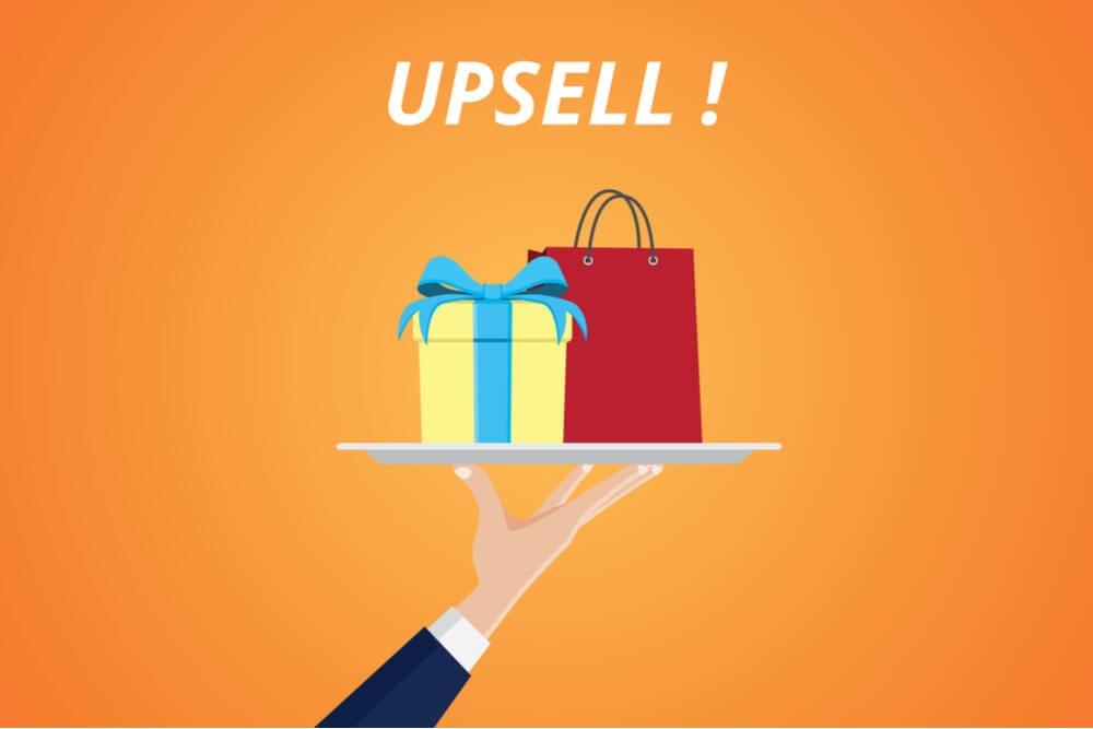 ilustração sobre compra e processo de upsell