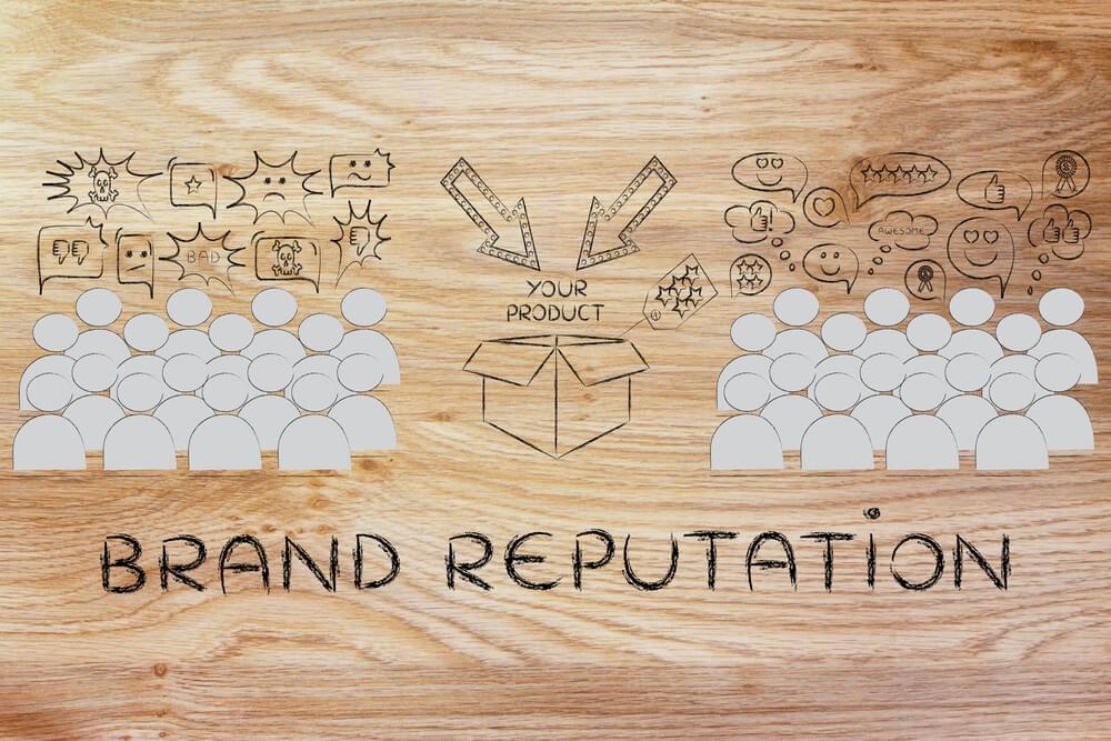 ilustração sobre reputação da marca e opiniões de clientes