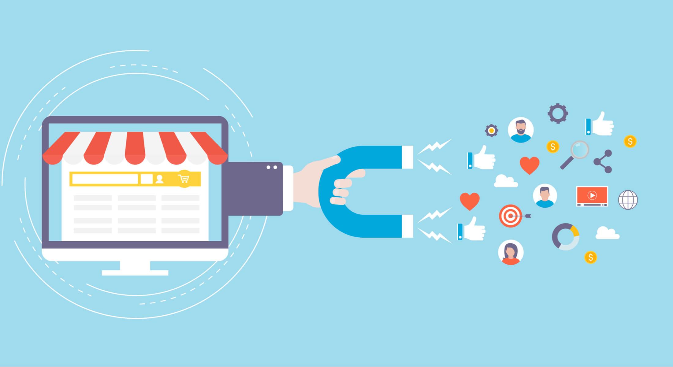 ilustração sobre vendas e atração de clientes