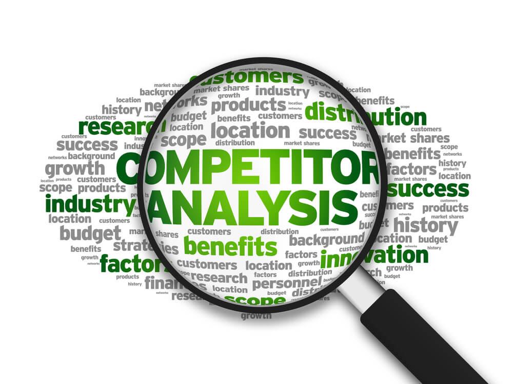 lupa destacando palavras análise de concorrência em inglês