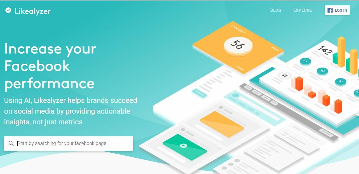 página de site da ferramenta de análise LikeAlyzer