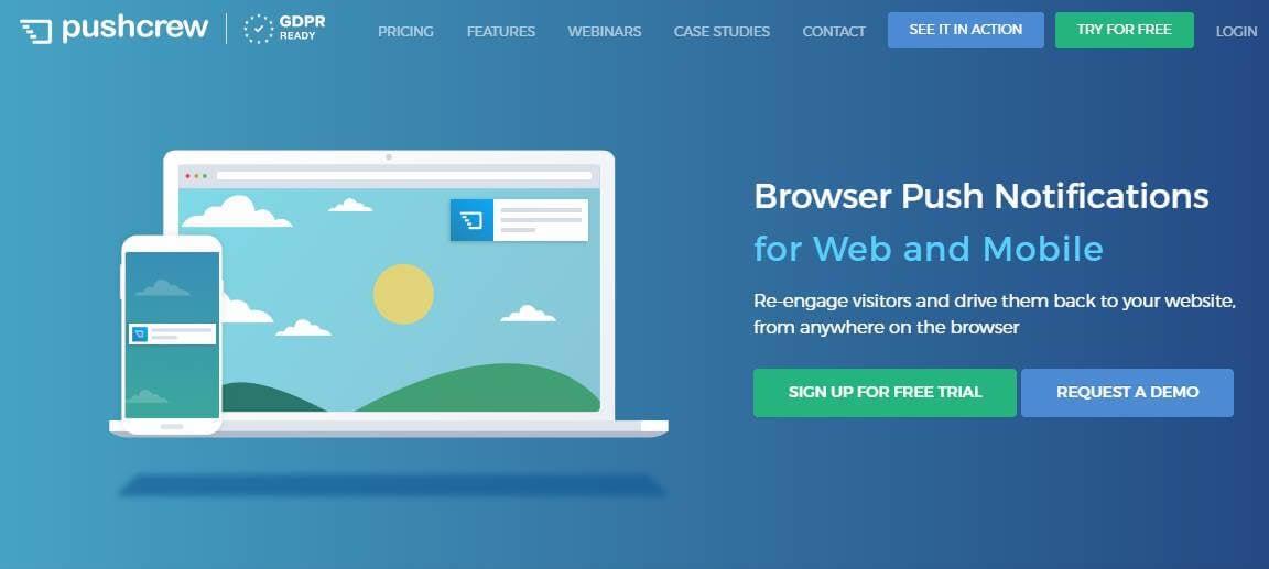 página inicial de site para criação de push notification PushCrew