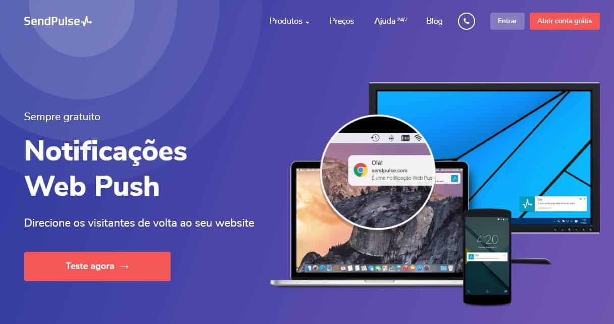 página inicial de site para criação de push notifications Send Pulse
