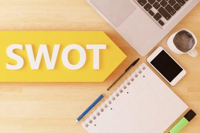 sigla da análise SWOT junto de itens de escritório em mesa