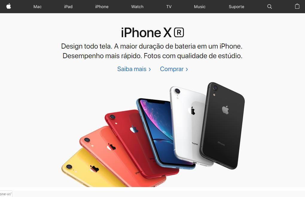 site brasileiro da marca Apple