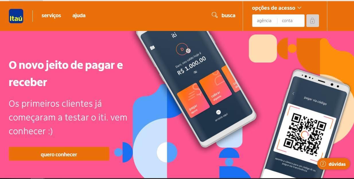 site do banco Itaú