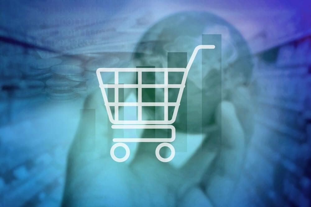 sobreposição de imagem de mundo e carrinho de compras
