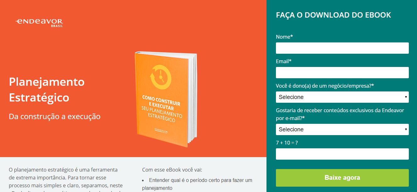 tela de download de ebook sobre planejamento estratégico da Endeavor