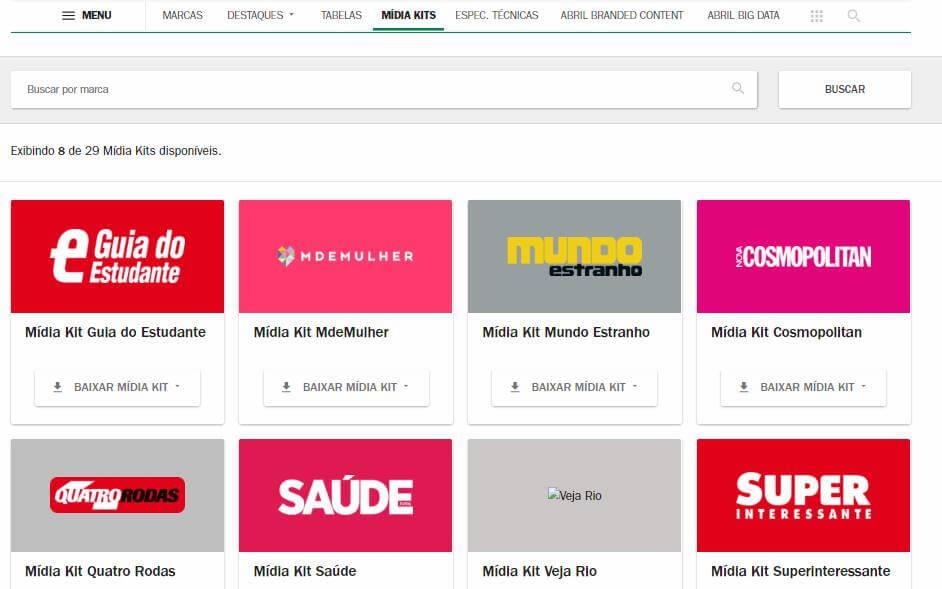 tela de midias kits da publicidade da Editora Abril