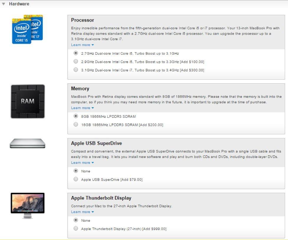 tela de seleção de upgrades em produtos de loja virtual da apple