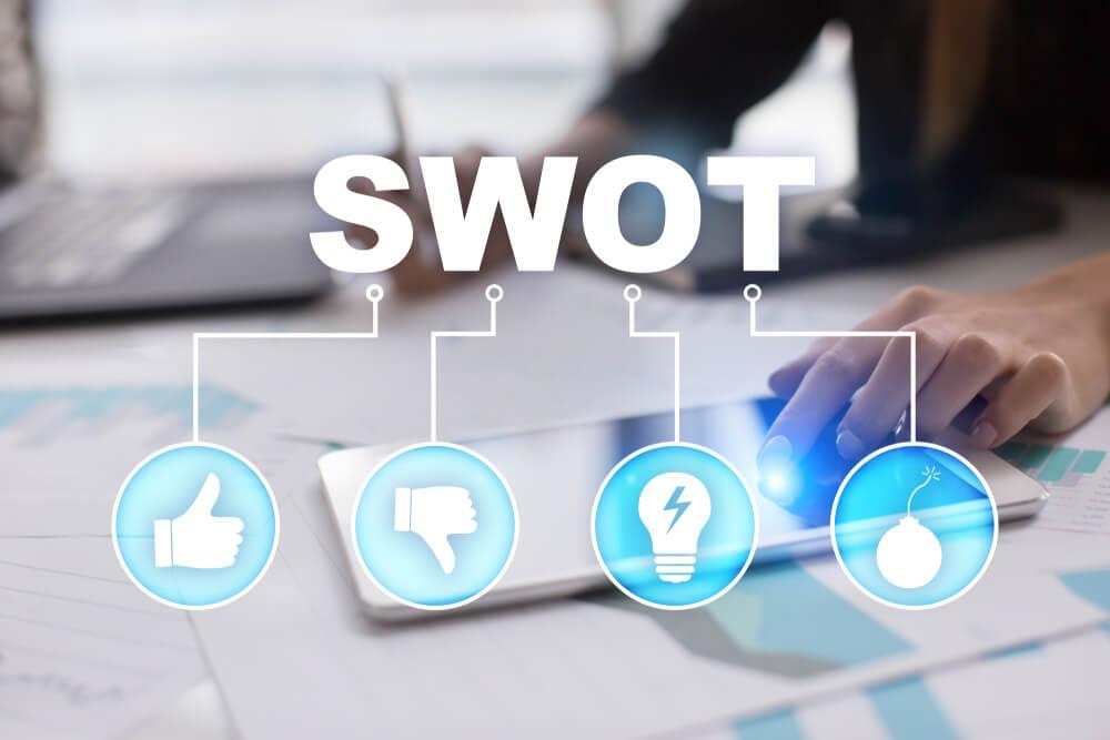 título da sigla SWOT e símbolos que representam significados da sigla