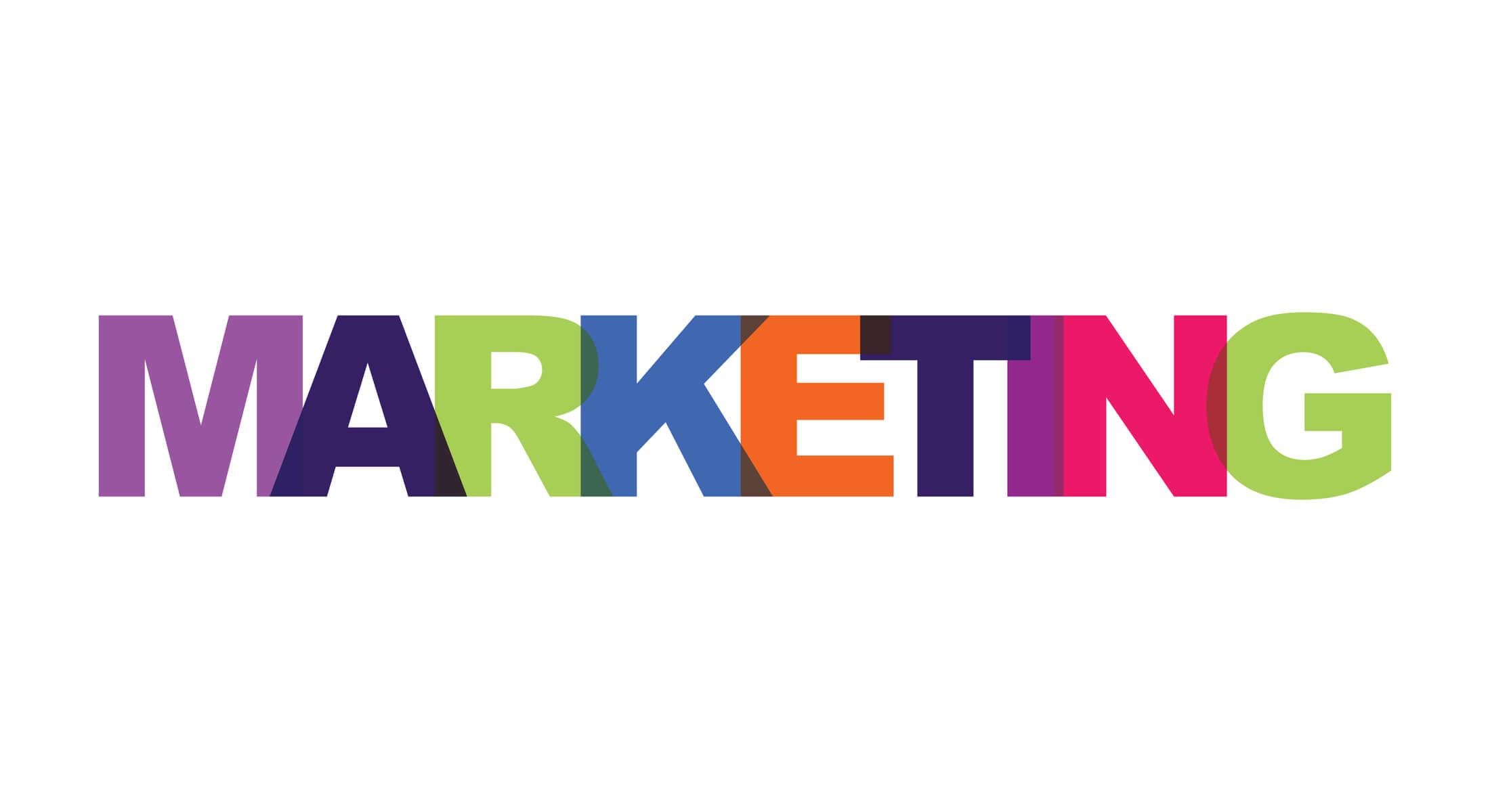 título marketing em letras coloridas