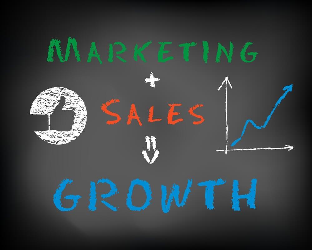 crescimento decorrente da junção de marketing e vendas nas empresas