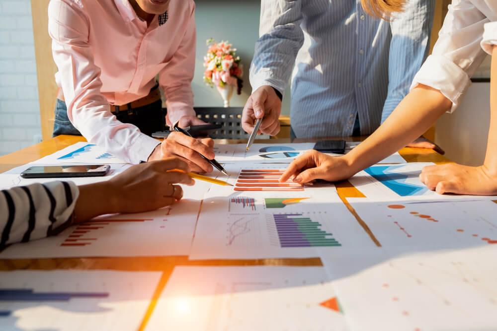 gráficos de dados de planejamento de empresas