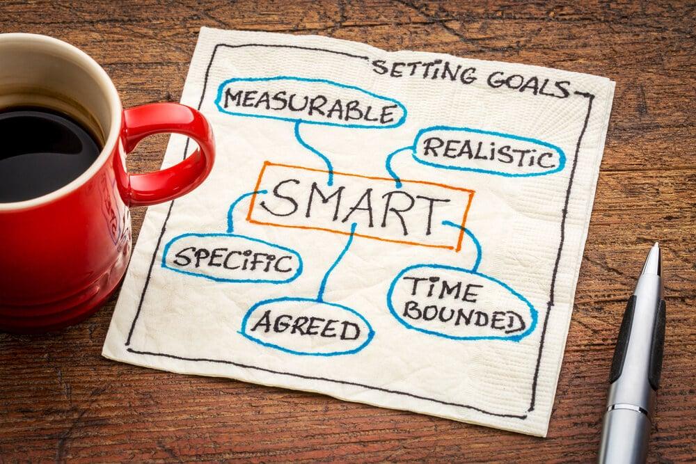 guardanapo com anotacao sobre objetivos smart