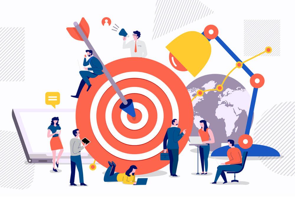 ilustração de alvo e equipe de marketing sobre objetivos no marketing
