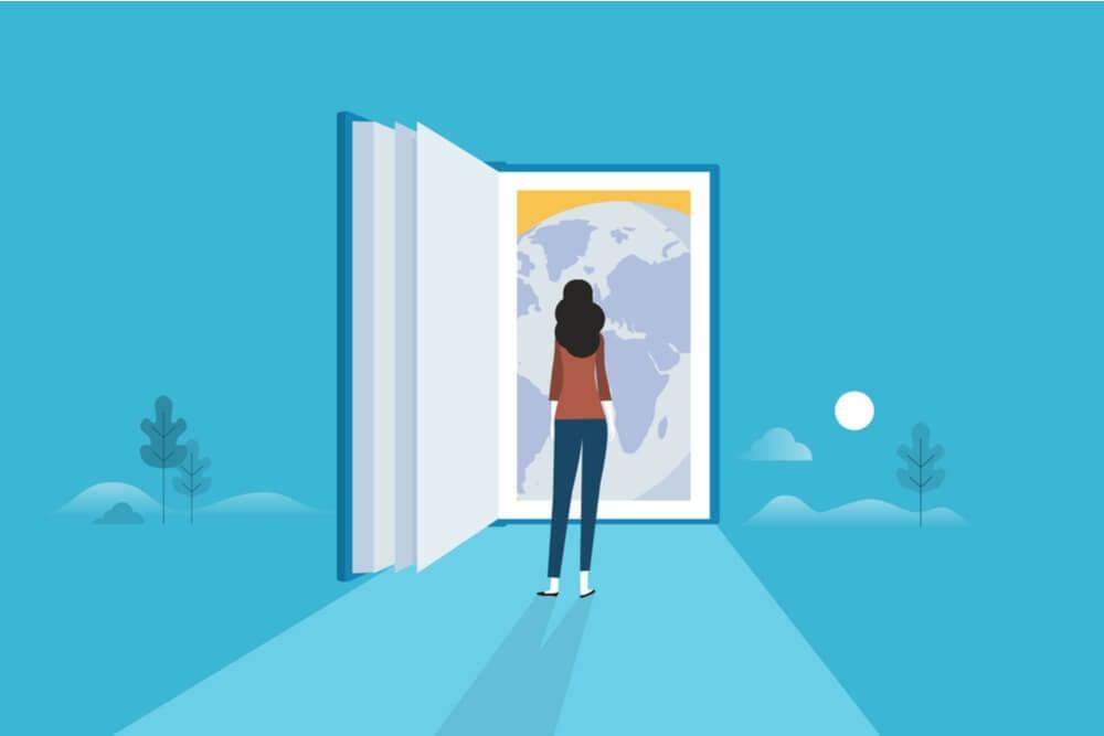 ilustração de estudante em frente de livro
