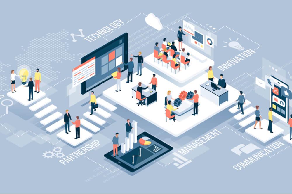 ilustração de organização de ambiente de marketing