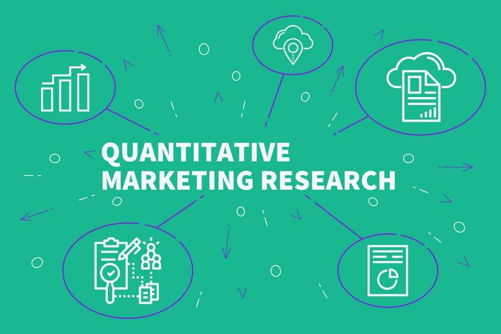 ilustração de símbolos e título sobre pesquisa quantitativa