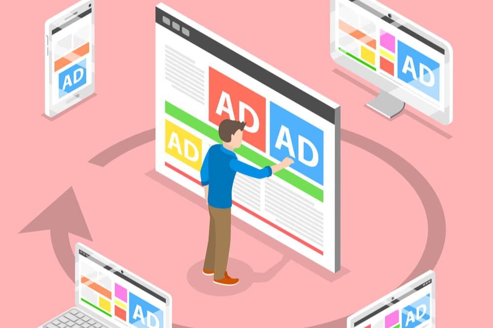 ilustraçao demonstrando anuncio em diferentes plataformas digitais