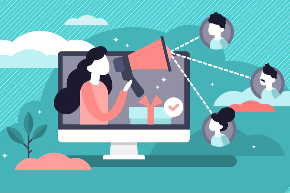 ilustração sobre marketing boca a boca através da internet
