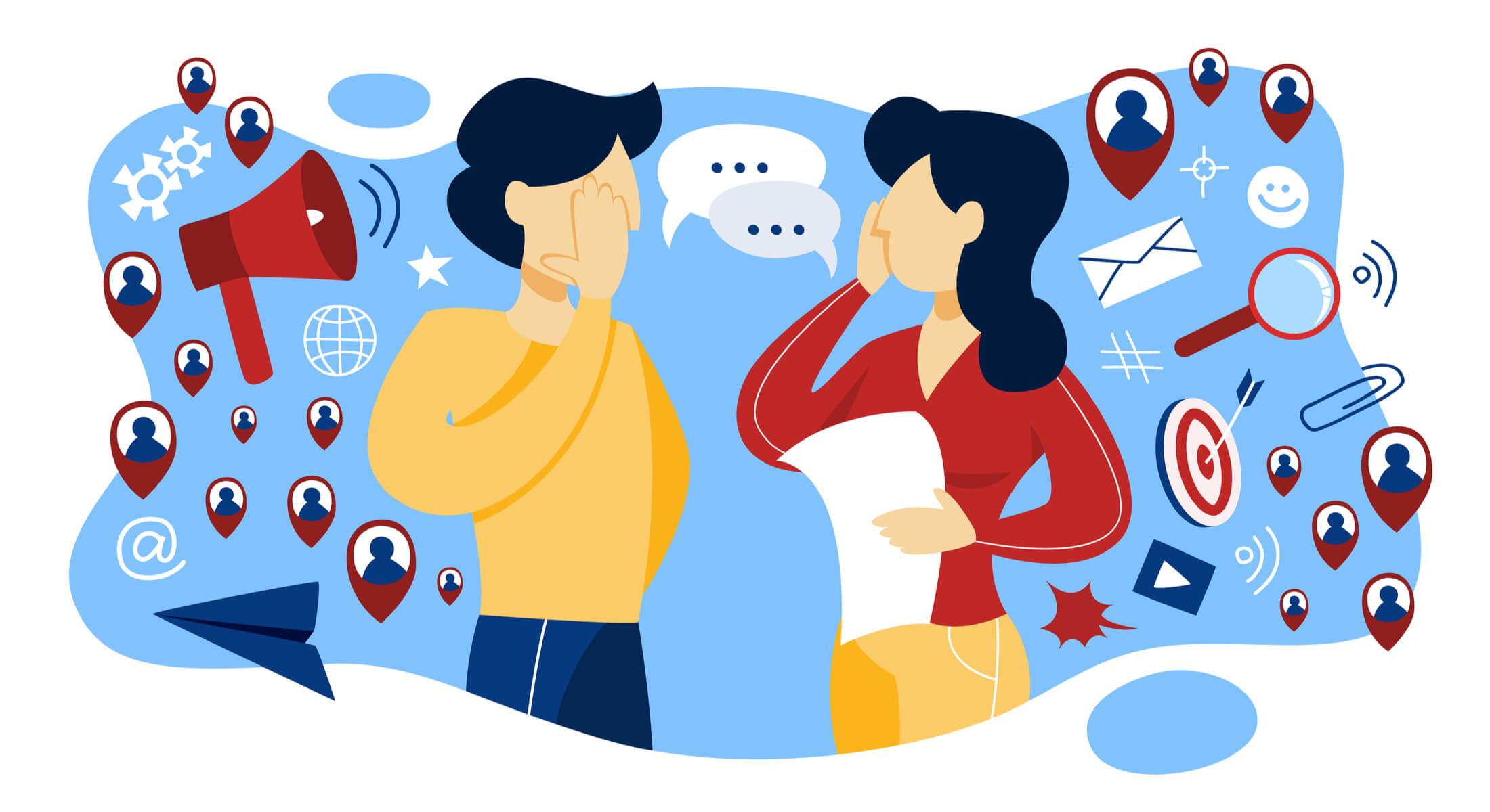 ilustração sobre marketing boca a boca