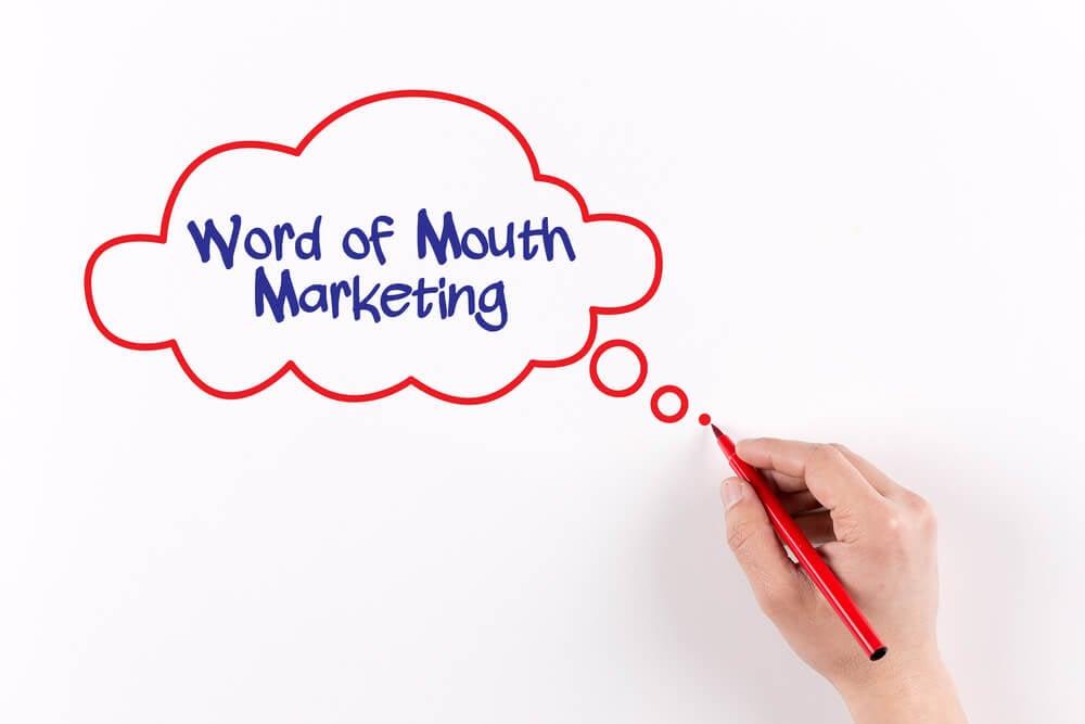 mão desenhando balão de comunicação com título marketing boca-a-boca