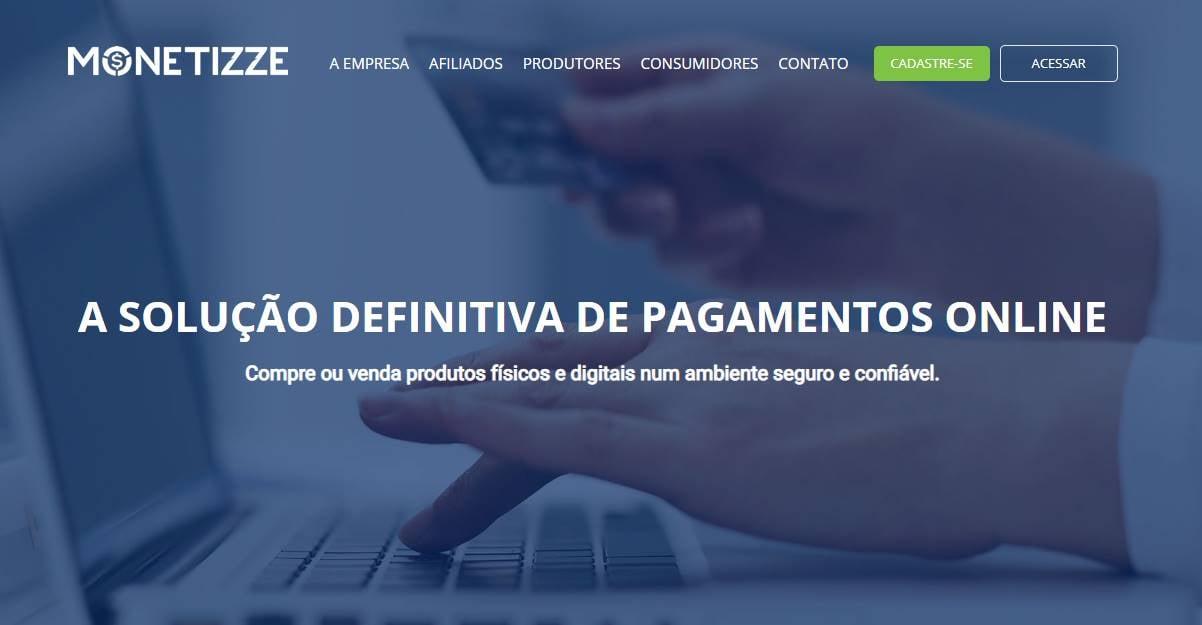 página inicial do site da plataforma para programa de afiliados  Monetizze