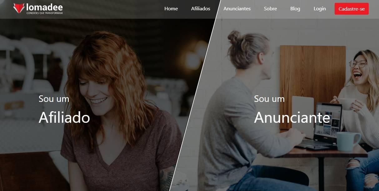 página inicial do site lomadee para programa de afiliados