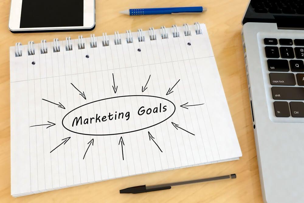 papel com título objetivos no marketing escrito sob mesa