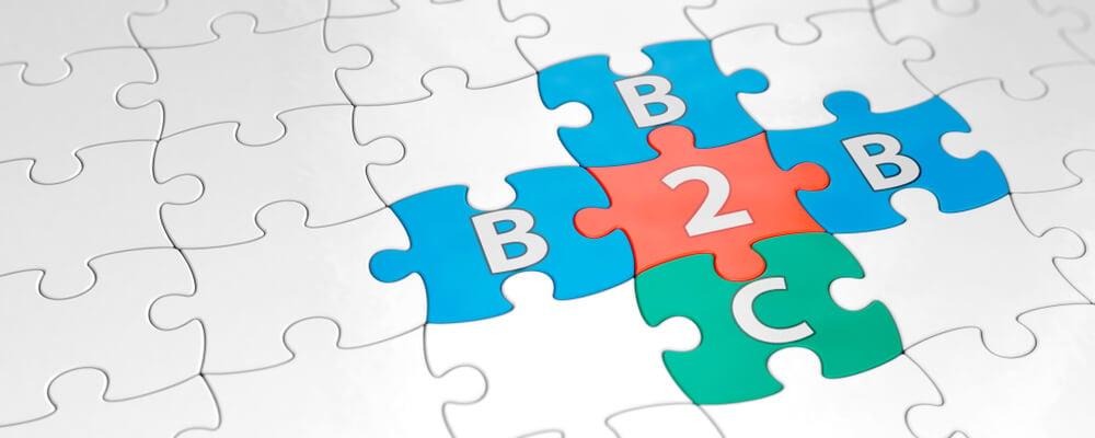 peças de quebra cabeça montando B2B e B2C