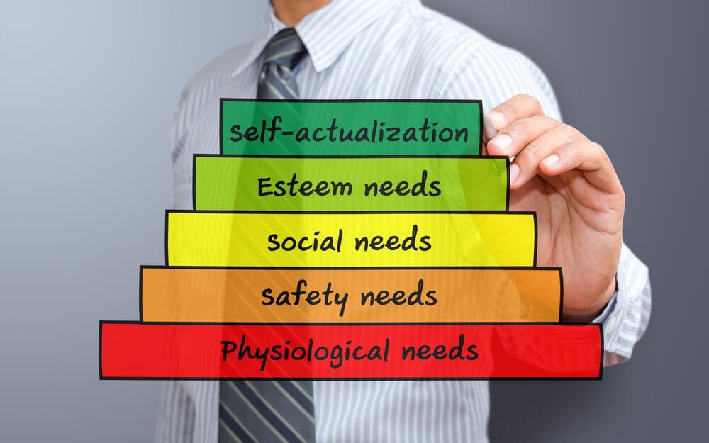 profissional assinalando a hierarquia de necessidades da piramide de maslow