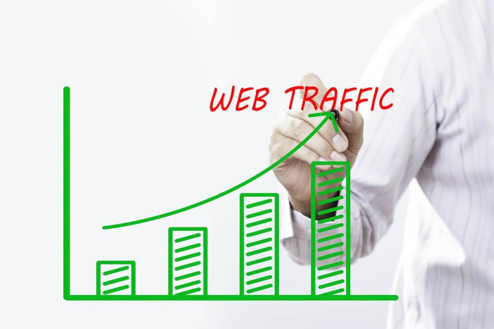 profissional assinalando gráfico sobre tráfico web