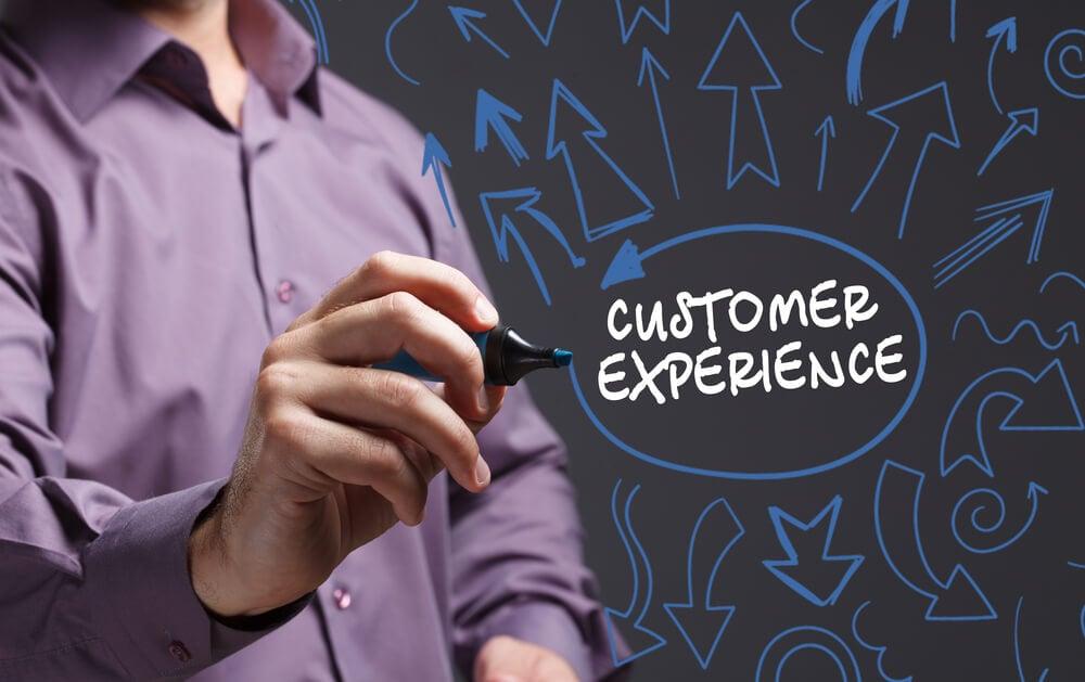 profissional assinalando ilustração de título experiencia do consumidor