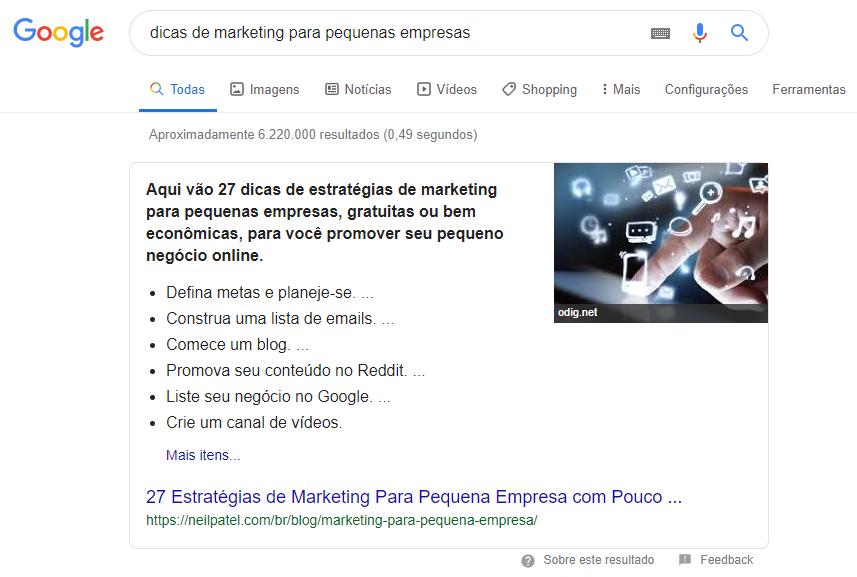 resultado de pesquisa sobre dicas de marketing para pequenas empresas do google