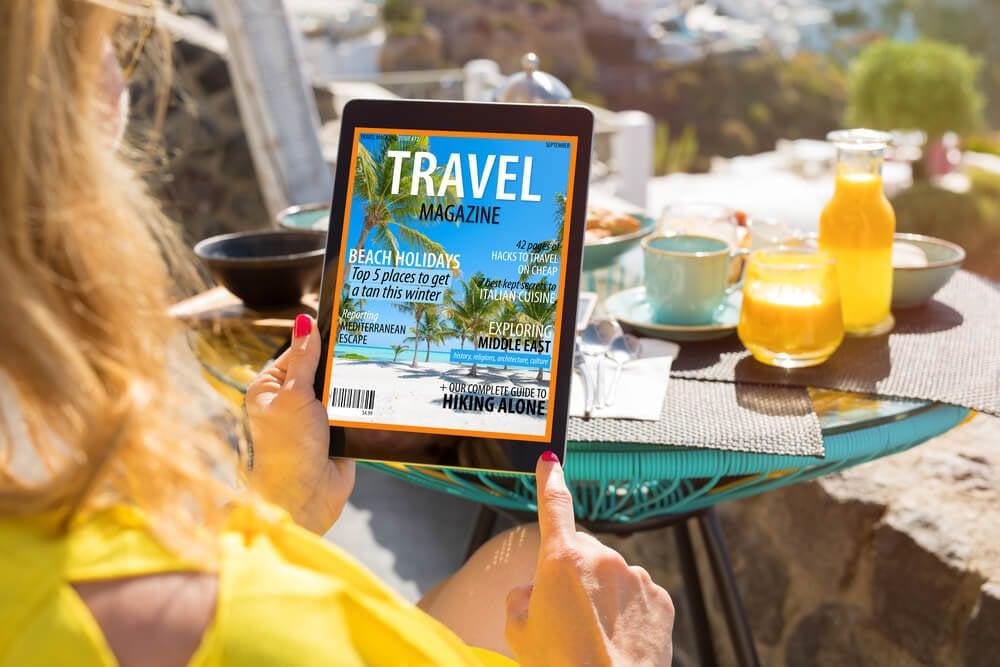 revista online sobre viagens em tablet