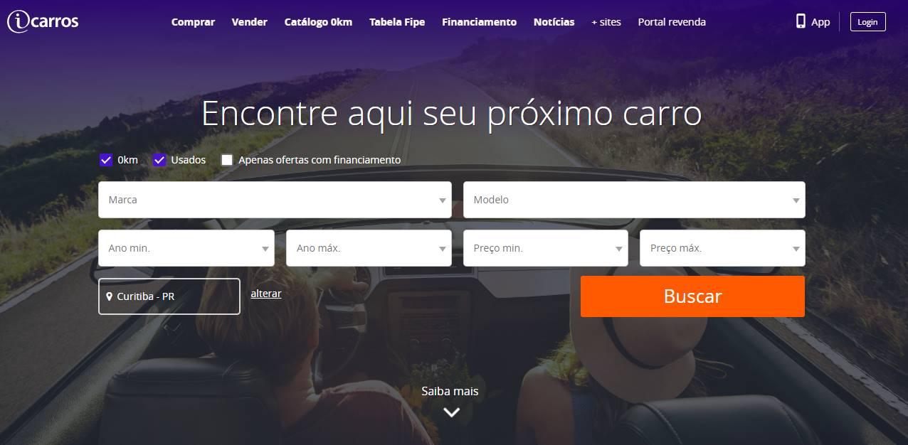 site do iCarros que também têm aplicativo de vendas online