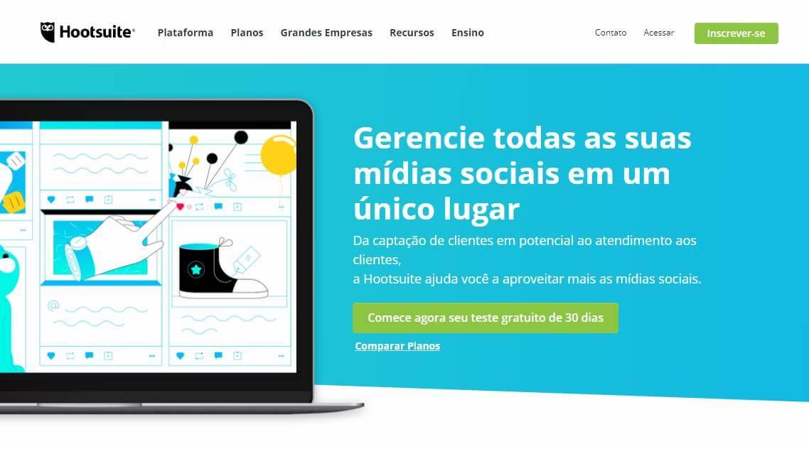 site hootsuite como exemplo de ferramenta gerenciadora de redes sociais